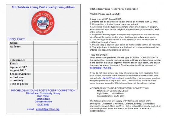 Entry form for Young Poets' Competition