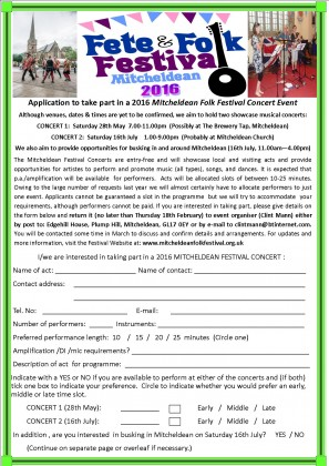 Mitcheldean Fete 2016 Concert Application 1